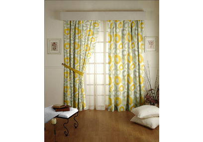 Passion Geometric Readymade Curtain - 25, yellow, long door
