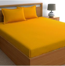 Dreamscape 220TC, Mustard Satin Stripe 100% Cotton Double Bedsheets, mustard, double