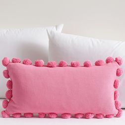 Pink Pom Pom Lace Cushion Cover MYC-61, pack of 1, pink