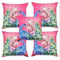 My Room Satin Pink and Peacock Blue Cushion Covers, pack of 5, pink