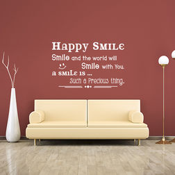 Kakshyaachitra Happy Smile Wall Stickers For Bedroom And Living Room, 24 16 inches