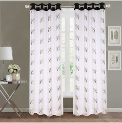Sheer Curtains Dreamscape, Floral Black Sheer Curtains, black, door