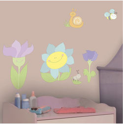 Wall Stickers For Kids Home Decor Line Smiling Flowers - 11103