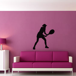 Kakshyaachitra Two Handed Backhand Tennis Stroke Wall Stickers For Bedroom And Living Room, 24 28 inches