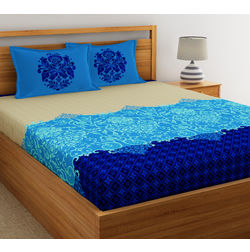 Dreamscape Ethnic Printed Bed sheet with Two Pillowcovers, 100% Cotton 144 Thread Count,  blue , double