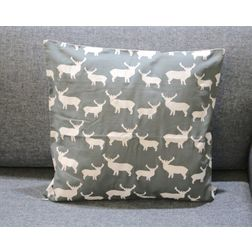 Deer Print Cushion MYC-27, pack of 1, grey