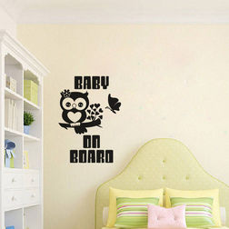 Kakshyaachitra Baby Owl On Branch Wall Stickers For Kids Room, 48 66 inches