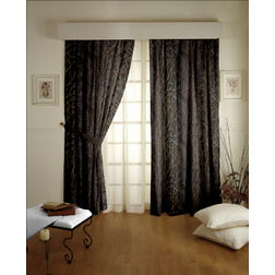 Roseberry Abstract Readymade Curtain - 34, black, long door