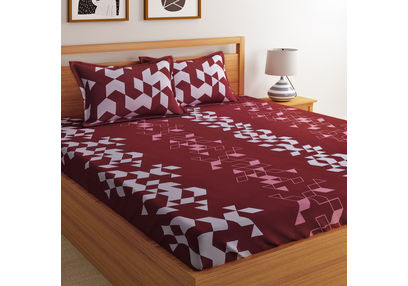 100% Cotton 144TC Geometric Designs Bed Sheet with 2 Pillow Covers New, double,  maroon