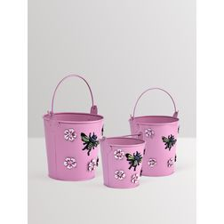 Aasra Decor Handpainted Planter with Bee & Flower Metal Patch GardenPots & Planters, pink