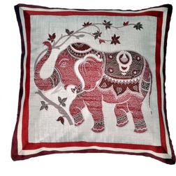 Dreamscape Embroided Red Cushion Covers, red