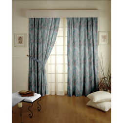 Sonalika Floral Readymade Curtain - 9, long door, blue