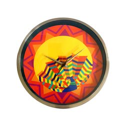 The Elephant Company Morfunk Peacock Yellow Round Steel Desginer Wall Clocks, yellow