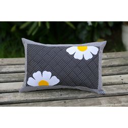 Black Polka Flower Cushion Cover MYC-18, pack of 1, black