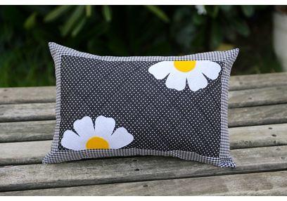 Black Polka Flower Cushion Cover MYC-18, pack of 1, black