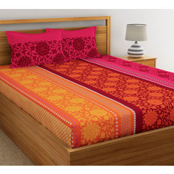 Ethnic Printed Bed sheet with Two Pillowcovers, 100% Cotton 144 Thread Count,  orange, double