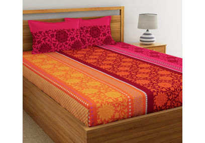 Ethnic Printed Bed sheet with Two Pillowcovers, 100% Cotton 144 Thread Count, double,  orange