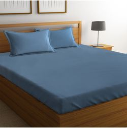 100% Cotton 500TC High Thread Count Sateen Bed Sheet with 2 Pillow Covers, blue, double