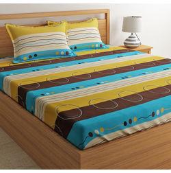 100% Cotton Double Bedsheet Online Sale, 140TC Double Bed Sheet With Pillow Cover, Double Bed Sheets Sale by Home Ecstasy, double,  multicolor