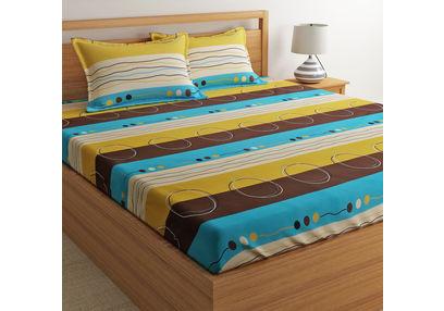 100% Cotton Double Bedsheet Online Sale, 140TC Double Bed Sheet With Pillow Cover, Double Bed Sheets Sale by Home Ecstasy,  multicolor, double