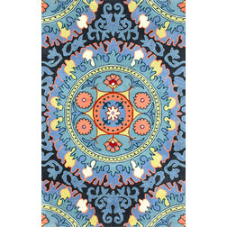 Floor Carpet and Rugs Hand Tufted, The Rug Concept Blue Carpets Online Tbilisi 6006-S, blue, 3ft x 5ft