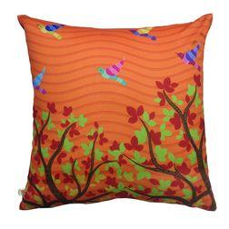 The Elephant Company Gond Art Birds Modern Cushion Covers, orange
