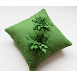 Green Butterfly Cushion Cover MYC-58, pack of 1, green