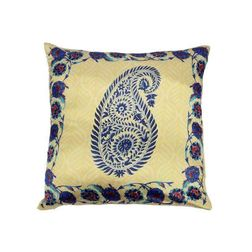 My Room Satin Golden & Blue Paisley Cushion Covers, pack of 1, blue