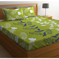 100% Cotton Double Bedsheet Online Sale, 140TC Double Bed Sheet With Pillow Cover, Double Bed Sheets Sale by Home Ecstasy, double,  dark green