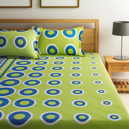Home Ecstasy 100% Cotton 140TC One Bed sheet With Two Pillow Covers New, double,  green