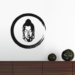 Kakshyaachitra Enso With Buddha Wall Stickers For Bedroom And Living Room, 24 24 inches