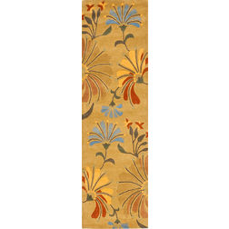 Floor Carpet and Rugs Hand Tufted AC Concept FloralYellow Carpets Online - RN-73-L, 3ftx5ft, yellow