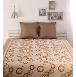 Dreamscape Polycotton Brown Geometric Bedcover, without pillow cover, brown