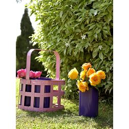 Aasra Decor Pink & Blue Basket with Cup Planters GardenPots & Planters, multi