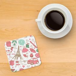 Printed wooden coasters Coaster 10, multi