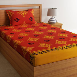 100% Cotton 140TC Floral Design Single Bed sheet With One Pillow Cover,  red, single