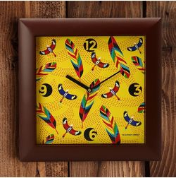 The Elephant Company Square Yellow Tropical Birds & Feathers Desginer Wall Clocks, red