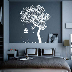 Kakshyaachitra Autumn Tree And Birds Wall Stickers For Bedroom And Living Room, 48 60 inches