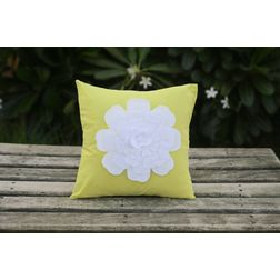 Yellow Flower Cushion Cover MYC-09, pack of 1, yellow