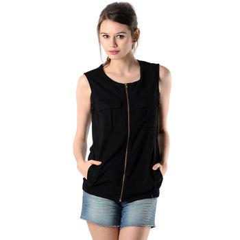 Black Vest Jacket OS16, black, m