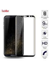Techbot Full Edge To Edge Cover Black 3D Curved Tempered Glass Screen Protector For Samsung Galaxy S8, black