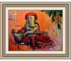 Shine India Ganesha Poster on Canvas, multicolor