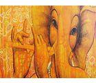 Shine India Ganesha Painting on Canvas, large, multicolor