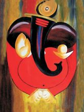 Shine India Ganesha Painting on Canvas, small, multicolor