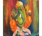Shine India Ganesha Painting on Canvas, small, multicolor