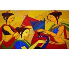 Shine India Artistic Painting on Canvas, large, multicolor