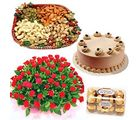 Meandmycake Choco coffee Cake-75 Red Roses-16 Ferrero Rocher- Dry Fruits, normal delivery
