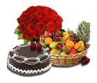 Meandmycake 1kg Chocolate Cake-50 Red Roses-5kg Fruit Basket, midnight delivery
