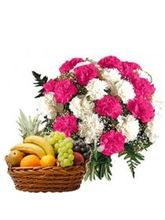 Meandmycake 3kg Fruit Basket-20 Pink n White Carnation, normal delivery