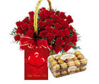 Meandmycake 16 Fererro Rocher-30 Red Roses in Round Basket-Love Card, midnight delivery